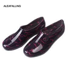 aleafalling rain boots british women s platform waterproof motorcycle flat all season garden ankle good boots gir s shoes w062