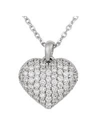 tec dnk 07 white gold small diamond puffed heart necklace with solid 18 cable chain