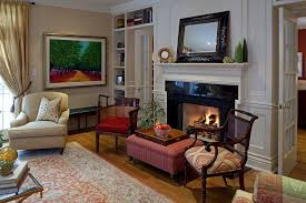stool in front of fireplace living room traditional with molding wool area rugs
