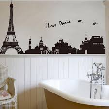 Wall Decor Sticker Eiffel Tower Building In Romantic Pairs Large Black Art Wall