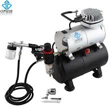 ophir 110v 220v tank air compressor with dual action airbrush paint kit for model hobby