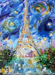 original oil painting paris eiffel tower starry night abstract palette knife impressionism on canvas fine art