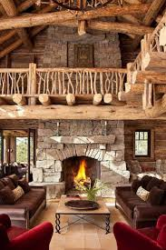 national park inspired log home with two story soaring fireplace twig bannister so rustic and magestic future cabin idea