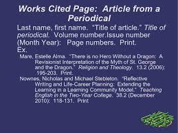 Mla Formats For Works Cited Mla Format