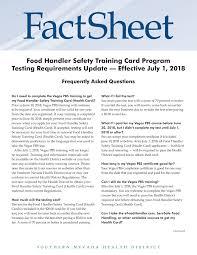 East las vegas public health center; 2018 Food Handler Safety Training Card Program Testing Requirement Updates 1 Pages 1 2 Flip Pdf Download Fliphtml5