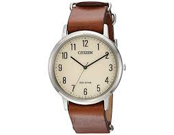 citizen eco drive quartz stainless steel and leather casual watch color brown model bj6500 21a in brown for men save 58 lyst