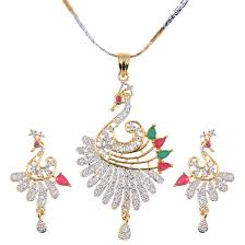 grand jewels alloy gold plated peacock shaped american diamond pendant set with chain earrings