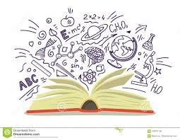 раскройте книгу с образованием школу эскизы науки нарисованные