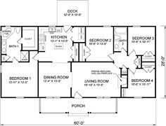 4 Bedroom Ranch Floor Plans | First Floor Plan Of Ranch House Plan 45467
