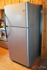After three coats of the metallic paint and three top coats, here's my new  fridge: