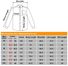 Mens Business Shirts Size Chart Coolmine Community School