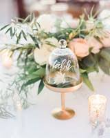 Elegant cloche and flower wedding table number with calligraphy