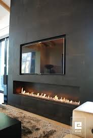 Strip fireplace on roof top deck