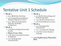 tentative unit schedule week mlk day no class using 1 tentative
