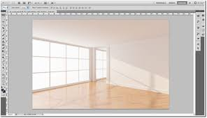 The new Photoshop file with the empty room background.