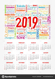 Travel Calendar Calendar 2019 Year Travel Cities Word Cloud Collage Trip