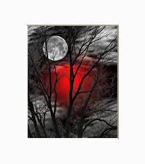 black white red wall art tree moon wall