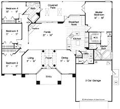 Fine Floor Plan Of A One Story House Open Plans With 4 Bedrooms Throughout Design