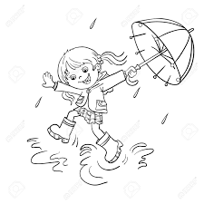 Small Picture Coloring Page Outline Of A Cartoon Joyful Girl Jumping In The