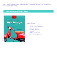 Free Web Design Books Pdf Pdf Read Free Basics Of Web Design Html5 Css3 Free Download