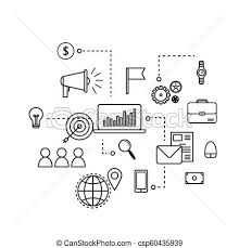 Modern Outline Flat Business Concept E Mail Marketing Chart