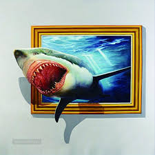 well known shark out of frame 3d painting in oil for for 3d artwork on