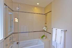 bathroom shower over tub, swinging frameless door, niche  contemporary-bathroom