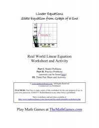 real world linear equation worksheet
