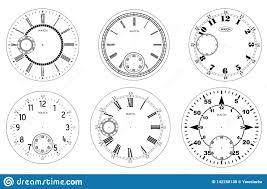 Watch Dial Design Template Clock Face Blank Set Isolated On White Background Vector