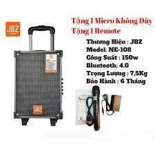 Loa Kéo Karaoke Bluetooth JBZ NE108 150W Bass 2 Tấc - BH 6 Tháng | Loa Di  Động JBZ NE108 - Tặng kèm míc không dây