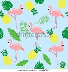 pineapple and flamingo background. vector illustration of flamingos seamless background with pineapples and palm tree branches #464840687 pineapple flamingo n