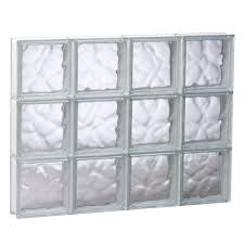 frameless wave pattern non vented glass block window