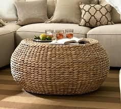 round wicker coffee table resin amazing regarding fresh seagrass pottery barn ottoman c