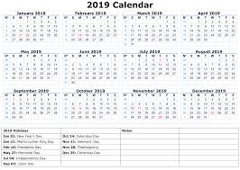 Printable Calendar 2019 With Holidays Printable Calendar 2019