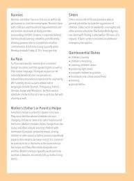 responsibilities of a nanny for resumes nanny job description the evelyn belle agency atlanta pinterest