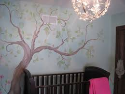 ... Beautiful Wall Decoration Using Cherry Blossom Wall Mural : Classy Baby  Nursery Room Decoration With Dark ...