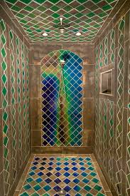 Shower with heat sensitive tiles ...