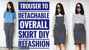 diy trouser to overall bib skirt refashion how to transform old clothes