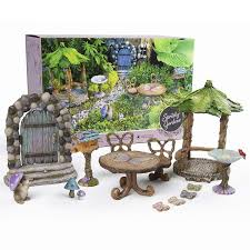 spritely gardens deluxe fairy garden kit with accessories indoor outdoor 14 piece toy fairy garden miniatures fairy garden decorations set makes a great