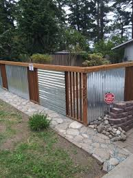 sheet metal fence.  Fence Love This Fence Idea For A Dog Run  Using Galvanized Sheet Metal And  Pressure Treated Throughout Sheet Metal Fence