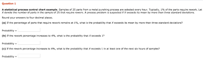 Solved Question 1 A Statistical Process Control Chart Exa