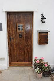 medium antique solid oak 3 plank external door with window