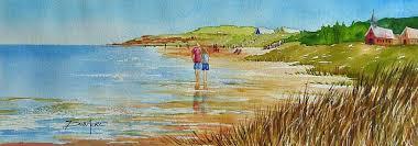 painting watercolor ocean beach