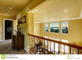 upstairs hallway overlooking living room stock image image 42824925