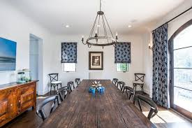 Coved ceiling painting ideas dining room mediterranean with roman shades  patterned curtains roman shades