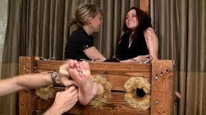 Ebony Feet Tickled Stocks