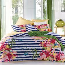 navy blue white raspberry red pink and green stripe and flower print shabby chic reversible soft cotton full queen size bedding sets