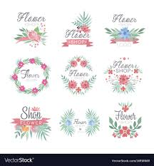 Designer Store Logos Flower Shop Logo Design Set Of Colorful Watercolor