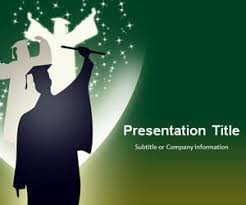 Free Graduation Powerpoint Template Green Background Free