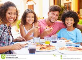 Child Of Stock Image Family Eating 52858337 Meal Hispanic - At Portrait Restaurant Outdoor